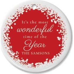 Snow Confetti Personalized Ornament Circle