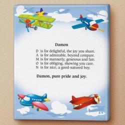 Airplane Name Poem Canvas Print