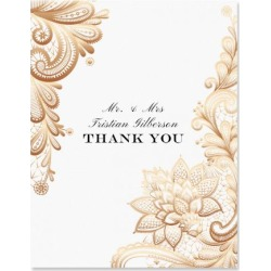 Gold Lace Personalized Thank You Cards - Light Stock