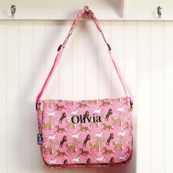 Horses on Pink Messenger Bag