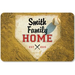 Home Plate Personalized Doormat