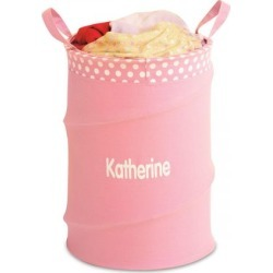 Personalized Pink Collapsible Laundry Tote found on Bargain Bro India from Lillian Vernon for $24.99