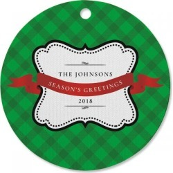 Plaid Holiday Personalized Ornament Circle
