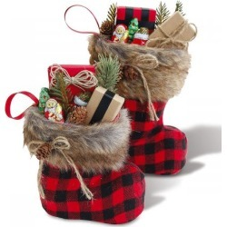 Santa Boot with Fur Cuff - Small and Large Set found on Bargain Bro India from Lillian Vernon for $16.98