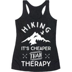 Hiking It's Cheaper Than Therapy Racerback Tank from LookHUMAN