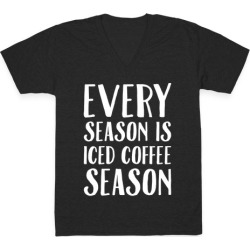 Every Season Is Iced Coffee Season White Print V-Neck T-Shirt from LookHUMAN found on Bargain Bro Philippines from LookHUMAN for $27.99