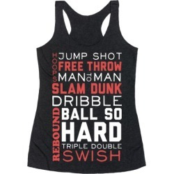 Basketball Typographic (Red and White) Racerback Tank from LookHUMAN