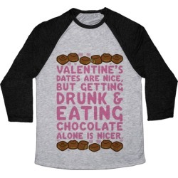 Valentines Dates And Chocolate Baseball Tee from LookHUMAN