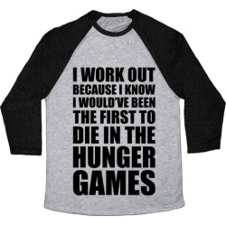 Hunger Games Workout Baseball Tee from LookHUMAN