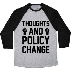 Thoughts And Policy Change Baseball Tee from LookHUMAN