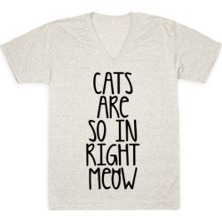 Cats Are So In Right Meow V-Neck T-Shirt from LookHUMAN