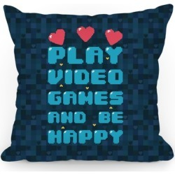 Play Video Games And Be Happy Throw Pillow from LookHUMAN