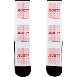 Anxiety Thank You Bag Parody Socks from LookHUMAN