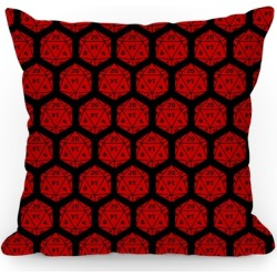 D20 Pillow (Red Dice) Throw Pillow from LookHUMAN