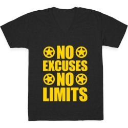 No Excuses No Limits V-Neck T-Shirt from LookHUMAN