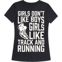 Girls Don't Like Boys Girls Like Track And Running T-Shirt from LookHUMAN
