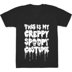This Is My Creppy Spoopy Costume V-Neck T-Shirt from LookHUMAN found on Bargain Bro Philippines from LookHUMAN for $27.99