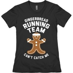 Gingerbread Running Team (White Ink) T-Shirt from LookHUMAN