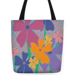 Happy Flowers Pattern Tote Bag from LookHUMAN found on Bargain Bro Philippines from LookHUMAN for $27.99