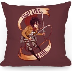 Mikasa: Fight Like a Girl Throw Pillow from LookHUMAN found on Bargain Bro Philippines from LookHUMAN for $37.99