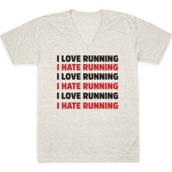 I Love Running I Hate Running V-Neck T-Shirt from LookHUMAN