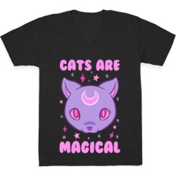 Cats Are Magical V-Neck T-Shirt from LookHUMAN
