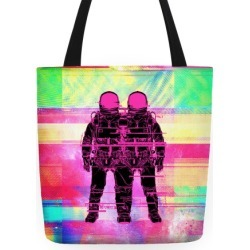 Twin Astronaut Glitch Tote Tote Bag from LookHUMAN found on Bargain Bro Philippines from LookHUMAN for $27.99
