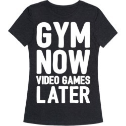 Gym Now Video Games Later White Print T-Shirt from LookHUMAN