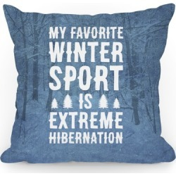 My Favorite Winter Sport Is Extreme Hibernation Throw Pillow from LookHUMAN found on Bargain Bro Philippines from LookHUMAN for $26.99