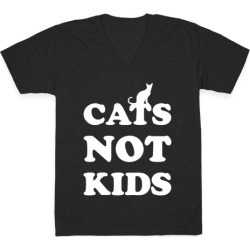 Cats Not Kids V-Neck T-Shirt from LookHUMAN