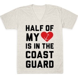 Half My Heart Is In The Coast Guard V-Neck T-Shirt from LookHUMAN