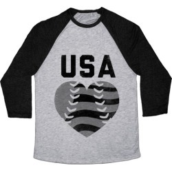 USA Baseball Love (Baseball Tee) Baseball Tee from LookHUMAN