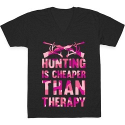 Hunting Is Cheaper Than Therapy V-Neck T-Shirt from LookHUMAN