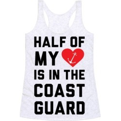 Half My Heart Is In The Coast Guard Racerback Tank from LookHUMAN