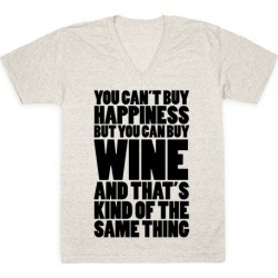 Wine Is My Happiness V-Neck T-Shirt from LookHUMAN found on GamingScroll.com from LookHUMAN for $27.99