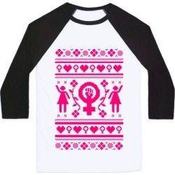Girl Power Ugly Sweater Baseball Tee from LookHUMAN