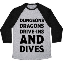 Dungeons Dragons Drive-ins And Dives Baseball Tee from LookHUMAN