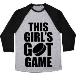This Girl's Got Game (Hockey) Baseball Tee from LookHUMAN