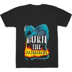 Burn the Patriarchy V-Neck T-Shirt from LookHUMAN