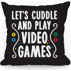 Let's Cuddle and Play Video Games Throw Pillow from LookHUMAN