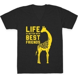 Life Is Better With Best Friends B V-Neck T-Shirt from LookHUMAN