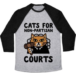 Cats for Non-Partisan Courts Baseball Tee from LookHUMAN