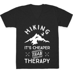 Hiking It's Cheaper Than Therapy V-Neck T-Shirt from LookHUMAN