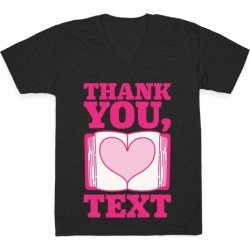 Thank You Text Book Parody White Print V-Neck T-Shirt from LookHUMAN