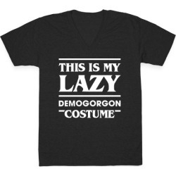 This Is My Lazy Demogorgon Costume (White) V-Neck T-Shirt from LookHUMAN