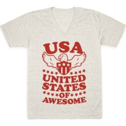 United States of Awesome V-Neck T-Shirt from LookHUMAN found on Bargain Bro from LookHUMAN for USD $21.27