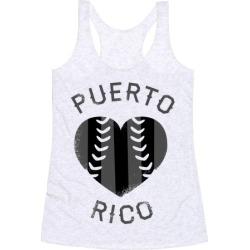 Puerto Rico Baseball Love (Baseball Tee) Racerback Tank from LookHUMAN