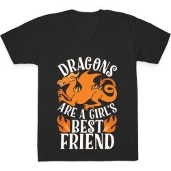 Dragons Are A Girl's Best Friend V-Neck T-Shirt from LookHUMAN