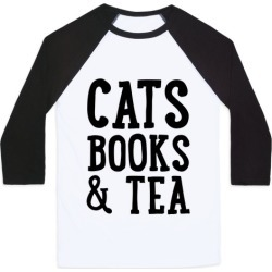 Cats, Books & Tea Baseball Tee from LookHUMAN