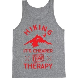 Hiking It's Cheaper Than Therapy Tank Top from LookHUMAN